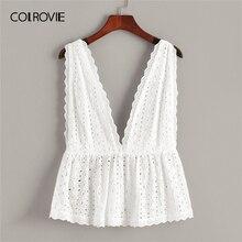 COLROVIE Beyaz Katı Schiffy Fırfır Hem Derin V Boyun Boho Top kadın kıyafetleri 2019 Yaz Kore Kız Gibi Tee Gömlek Tatil Yelek