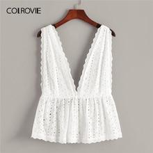 COLROVIE สีขาว Schiffy Ruffle Hem ลึก V คอ Boho Top เสื้อผ้าผู้หญิง 2019 ฤดูร้อนเกาหลี Girly Tee เสื้อวันหยุดเสื้อกั๊ก