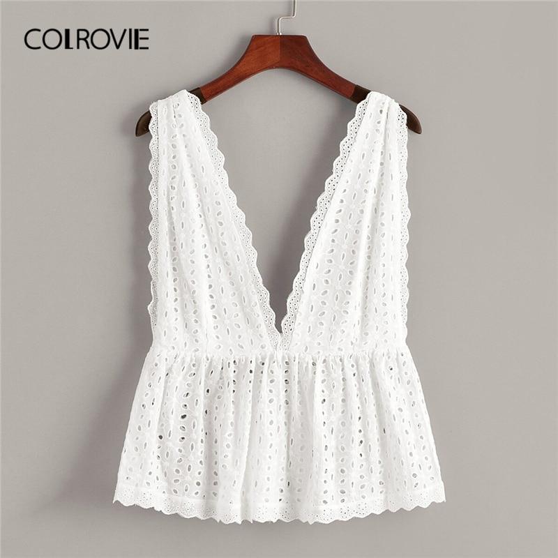 Colrovie branco sólido schiffy plissado hem profundo decote em v boho topo roupas femininas 2019 verão coreano feminino camiseta camisas férias colete