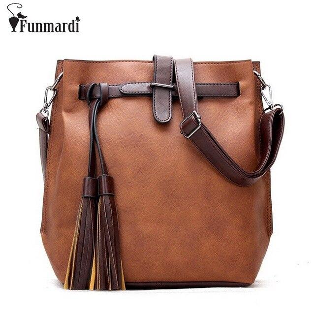 New Women Messenger Bags Pu Leather Women s Handbags Tassel Fringe Bucket  Bag Vintage Designer Shoulder Bag Ladies WLHB1366 17c62bf84cb09
