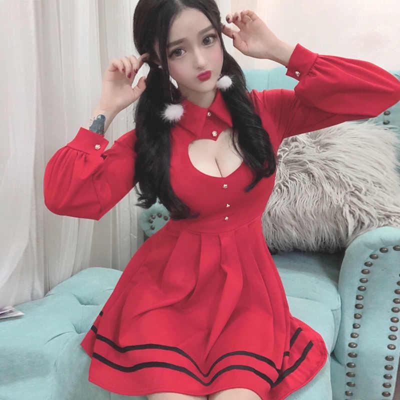 Christmas Dinner Dresses 2019.Korean Sexy Pleated Red Dress 2019 Christmas Women Sweet Cute Hollow Heart Ladies Black Party Dresses Kawaii Mini Shirt Dress