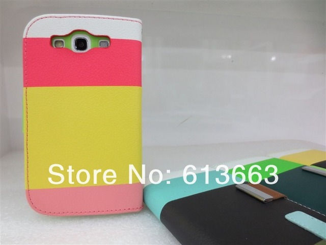 10pcs/lot Hit Contrast Color  PU Leathe Flip Case Cover Wallet Fit For Samsung Galaxy S3 III S 3 i9300,free shipping