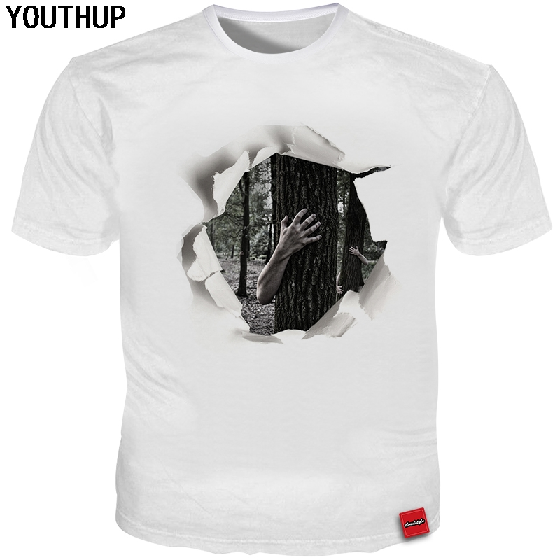 YOUTHUP 2018 Summer Funny T Shirt For Men 3d Hole Tree Print Men/Wome T Shirt Casual Cool Tees Tops Plus Size 5XL Men T Shirts