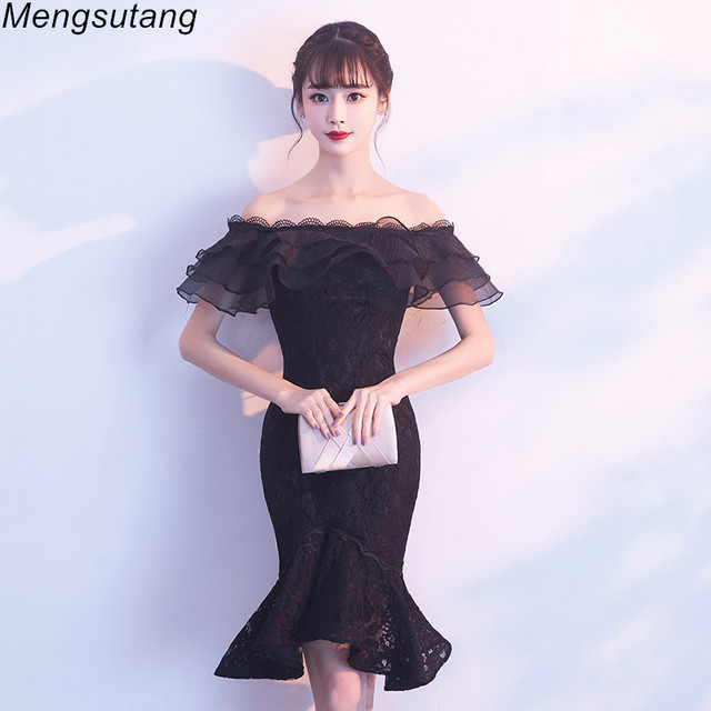 8e147ce40542 Robe de soiree 2019 Sexy Black Backless Mermaid evening dresses lace up off  shoulder party prom dress evening Gowns Custom Made