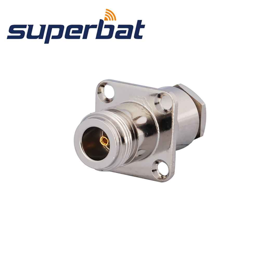 Superbat 10pcs N Clamp Jack Female With 4 Hole Panel Mount 50 Ohm  For Cable RG214,RG8,LMR400 RF Connector Free Shipping