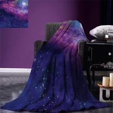 Outer Space Throw Spiritual Dim Star Clusters Milky Way Inspired Circle Back with Solar Elements Warm Microfiber Blanket