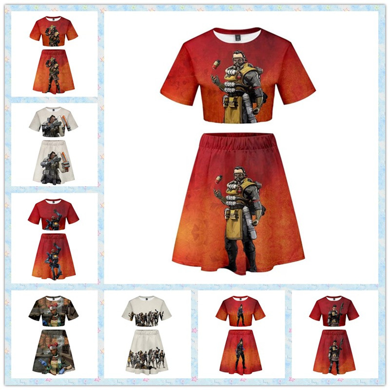 ZSQH Apex Legends T-shirt sexy skirts sets Lifeline Cosplay Costume for Women Girl Pathfinder 100% Cotton Shorts Summer S