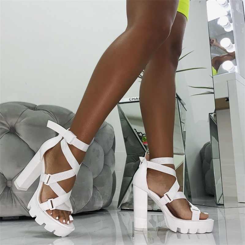 Perixir ผู้หญิงรองเท้าแตะส้นรองเท้าส้นรองเท้าแตะสายคล้องข้อเท้าส้น Club Night รองเท้าแตะฤดูร้อนแฟชั่นรองเท้าแตะ