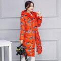 2016 зима новый женщин хлопка пальто длинный участок толстые теплые птица печати моды с капюшоном вниз куртки хлопка Плюс Размер свободной пиджаки