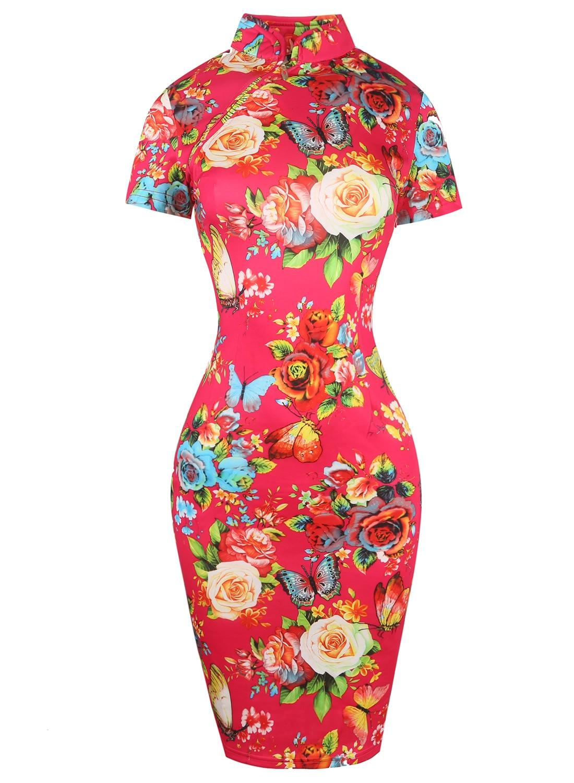 Oxiuly Womens Elegant Red Flower Flower Print Party Հատուկ - Կանացի հագուստ - Լուսանկար 2