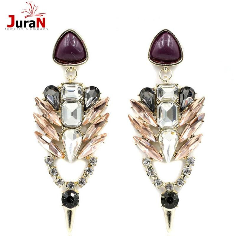 JURAN 2018 New Women Sexy Earring Hot Sale Statement Earing Full Crystal Stud Earrings For Party Fashion Earring Wholesale E2309