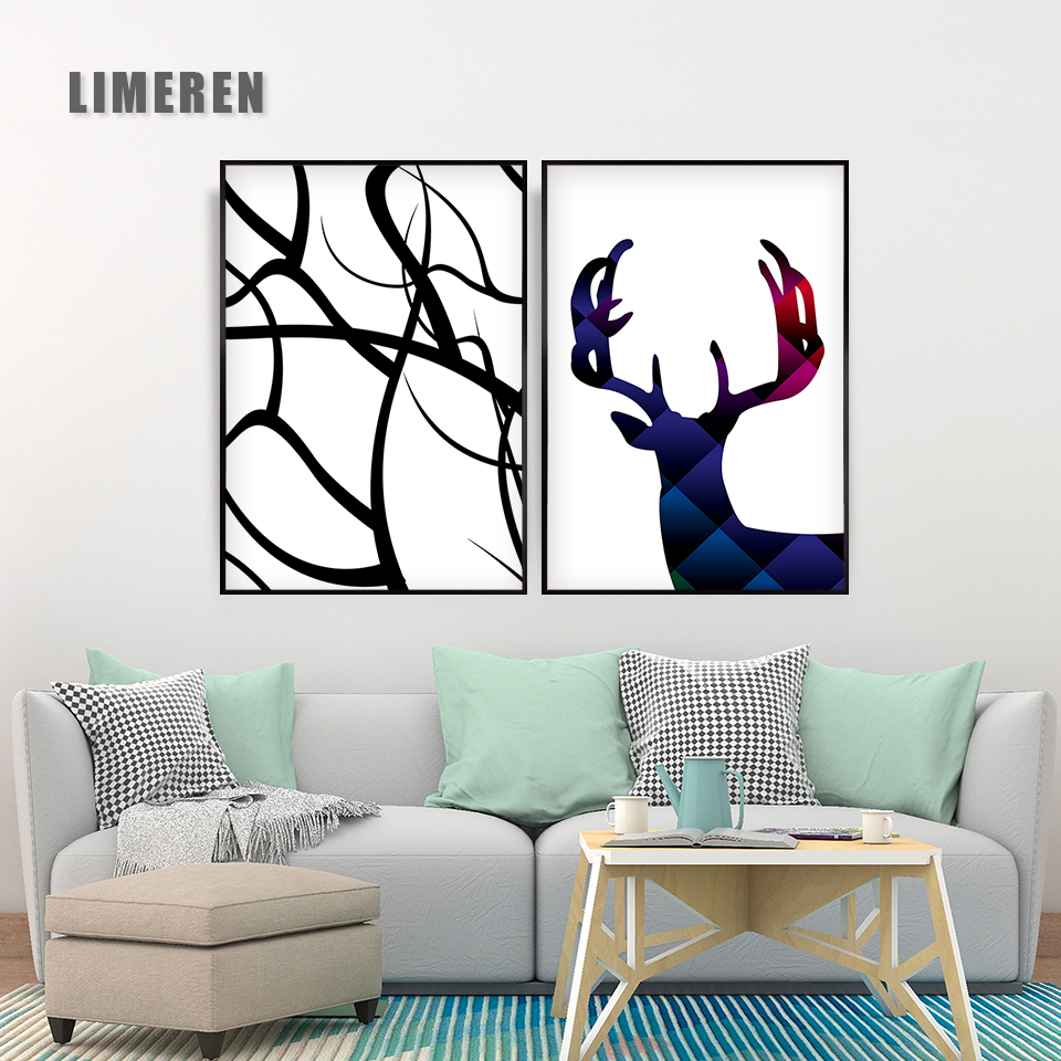 Nordic Style Deer Poster Print Minimalist Wall Art Canvas Painting Landscape Picture Home Decor
