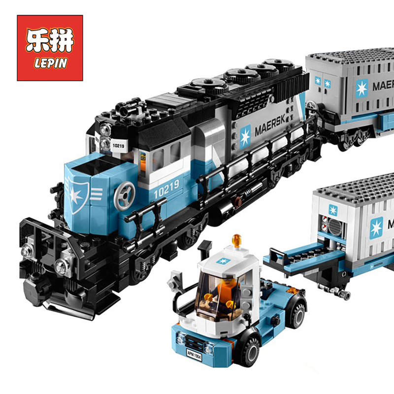 Lepin 21006 Genuine Technic Series The Maersk Train Set 10219 Model Building Kits Blocks Bricks Children Toys Gift Lepin black pearl building blocks kaizi ky87010 pirates of the caribbean ship self locking bricks assembling toys 1184pcs set gift