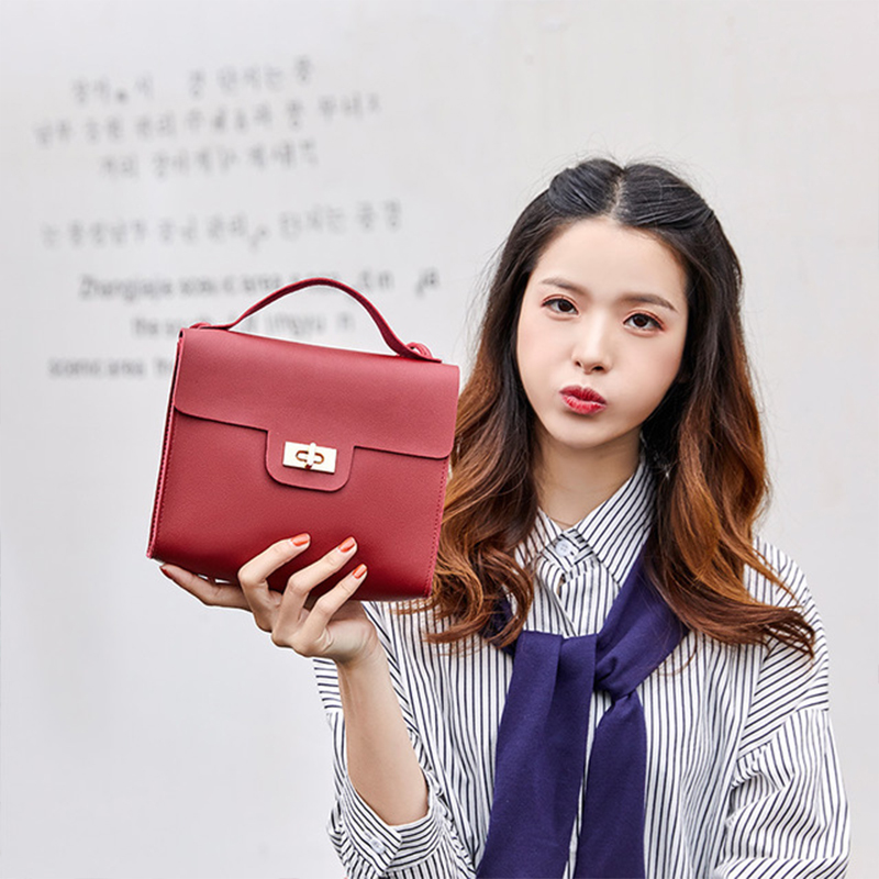 Ladies 39 Solid Color PU Leather Shoulder Bag Small Simple Female Messenger Phone Bag Korean Style purse for young girls Bolsa in Shoulder Bags from Luggage amp Bags