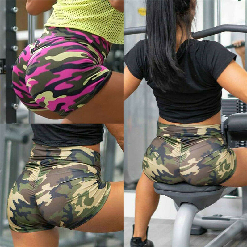 2019 New Fashion Womens Summer  Gym Sport Camo Shorts Ladies Sports Casual High Wasit  Short Trousers Slim Fit