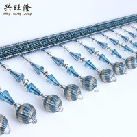 XWL 12Yards Lot Beaded Tassel Fringe Lace Trim For Curtain Edge DIY Sewing Sofa Stage Decorative