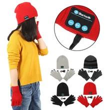 Warm Soft Smart Headset Bluetooth Wireless Beanies Hats + Gloves Set for Women Men Unisex Caps Headphone Speaker