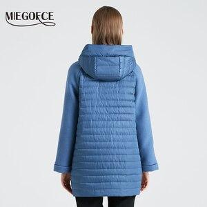 Image 4 - Miegofce 2020 nova coleção feminina primavera casaco elegante com capuz remendo bolsos dupla proteção contra vento parka