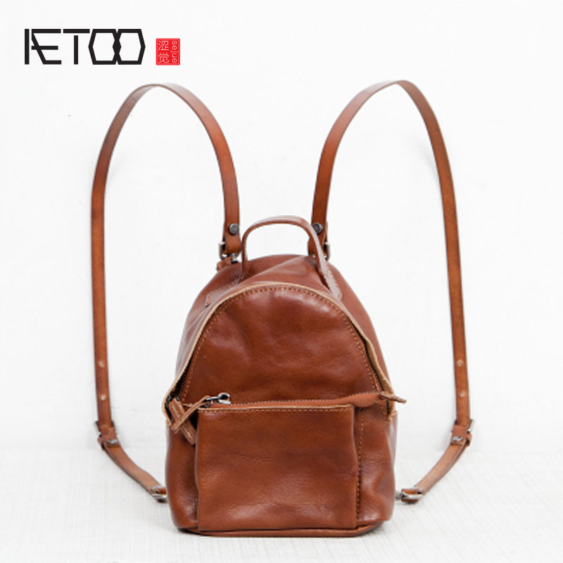 AETOO Shoulder bag female leather 2017 new Korean version of the wave of Europe and the United States wild mini backpack person aetoo first layer of leather shoulder bag female bag korean version of the school wind simple wild casual elephant pattern durab