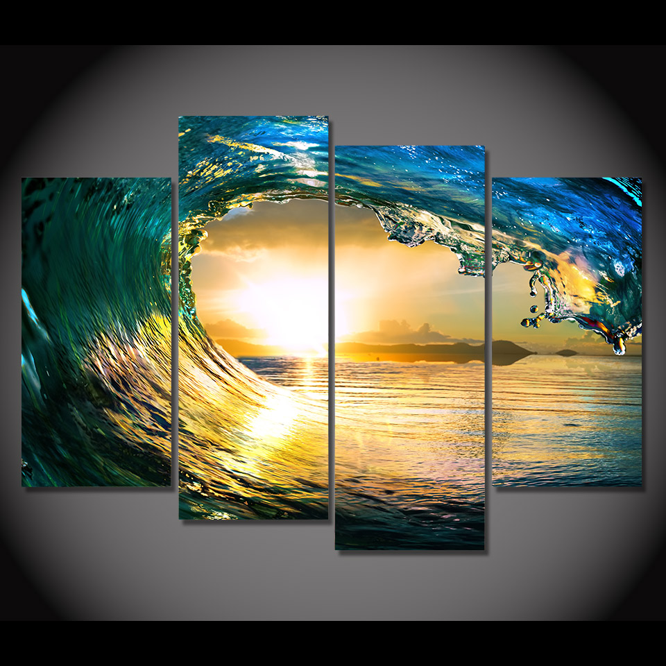 4 Piece Canvas Art Canvas Painting Sun The Waves Sea HD Printed Wall ...