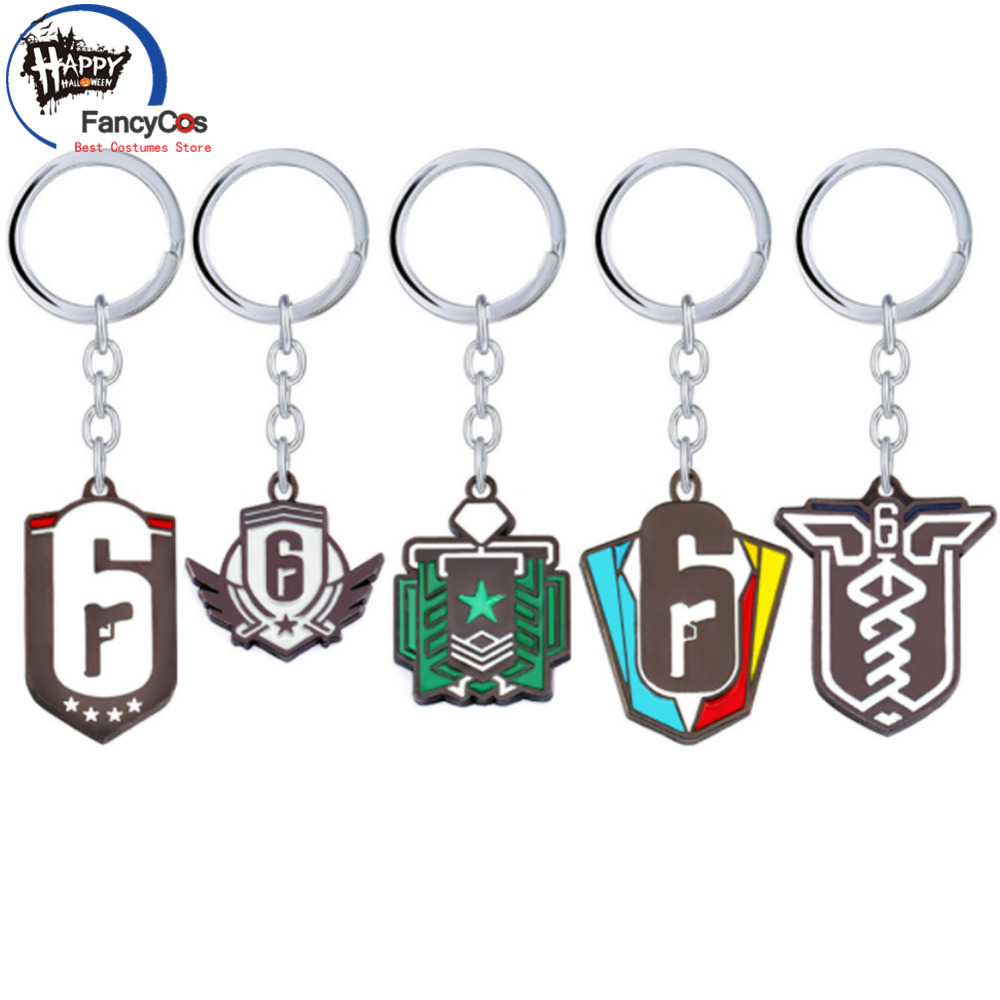Tom Clancy Five paragraphs game Rainbow Six  Key chain Metal necklace Fancy Jewelry Costume Cosplay Halloween Movie