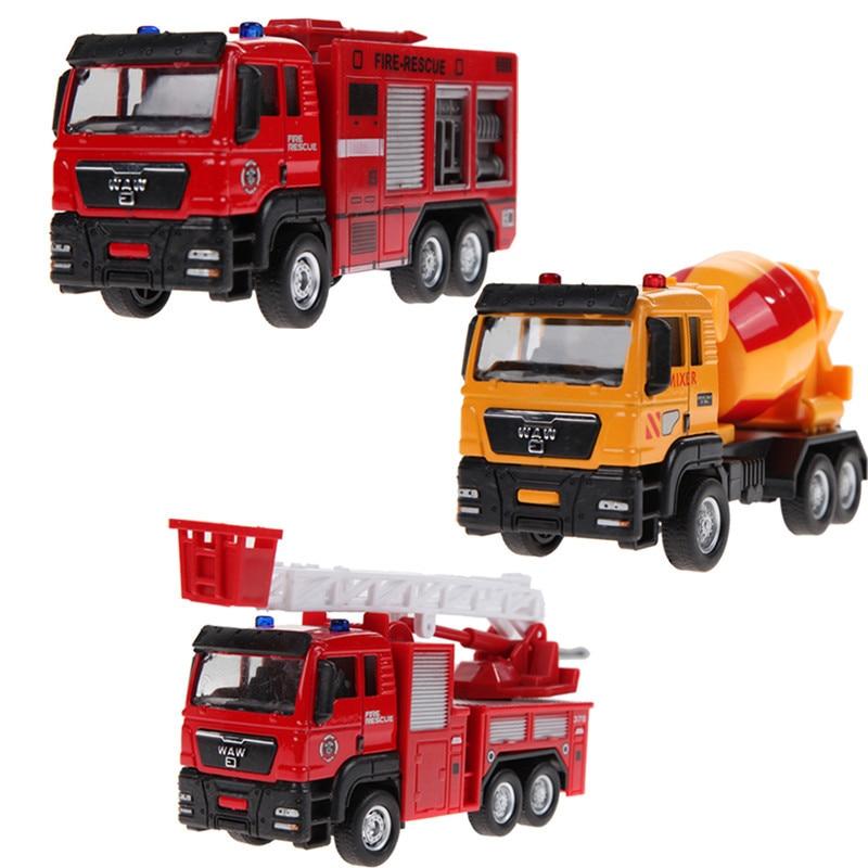 1 Pc 1:55 Mini Sliding Alloy Car Fire Engineering Car Truck Models Kids Toy Truck Mixer Children Educational Toy Alloy Car Model