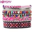 Bonsny Luxury Summer Handmade Bracelet For Women bohemian Brand Bangle Weave Sequins Fashion  2016 New Jewelry Girl Accessories