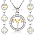 18 K Oro Puro de Plata de Ley 925 Horóscopo Signos Del Zodiaco Encanto Collar de la CZ para Las Mujeres colares Constelaciones Colgante Collar