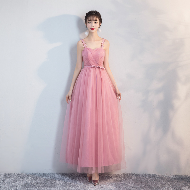Red Bean Pink Colour Long Yarn Mesh Bridesmaid Dresses  Women Wedding Party Dress Floral Retro Dress