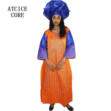 African embroidery design dresses for women with scarf
