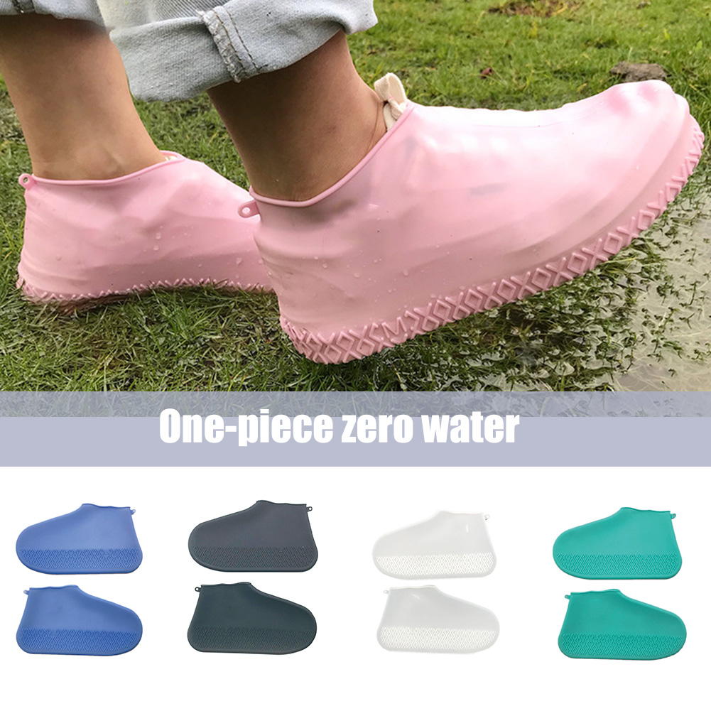 1Pair Reusable Waterproof Shoes Covers Silicone Wear-Resistant Rain Boots Shoes
