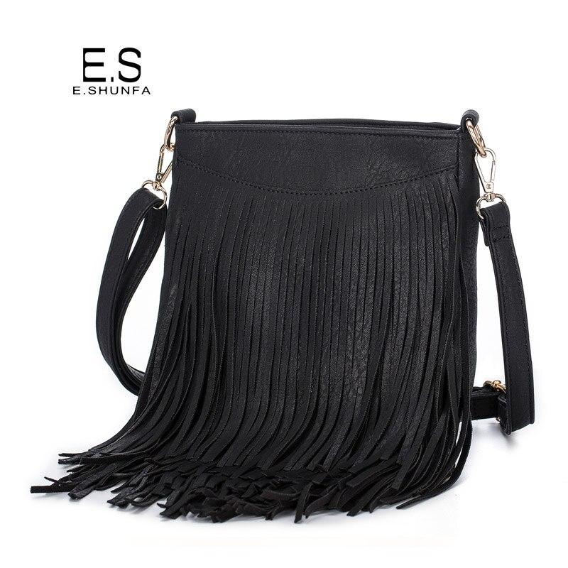 Tassel Shoulder Bags For Women 2018 New Fashion Casual Crossbody Bag Black Brown Gray Zipper PU