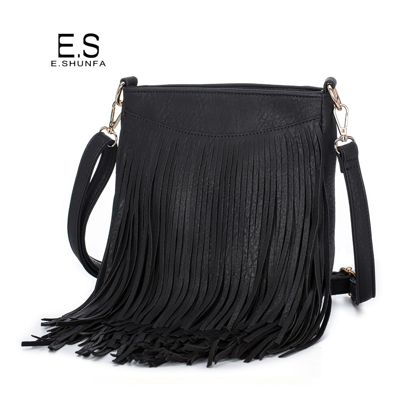 Tassel Shoulder Bags For Women 2018 New Fashion Casual Crossbody Bag Black Brown Gray Zipper PU Leather Shoulder Bag Woman