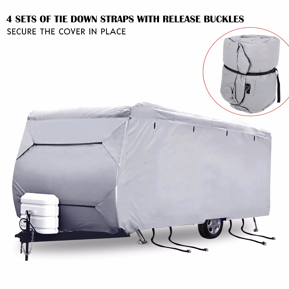Mayitr 16-24ft Caravan Campervan Cover Car Cover Waterproof UV 4 Sides Open Heavy Duty S/M/L/XL/XXL