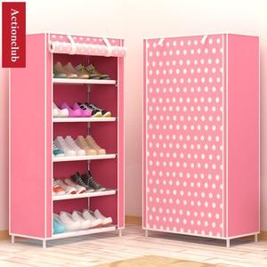 Image 5 - Actionclub sześć warstw włóknina przechowywanie szafka na buty pyłoszczelna półka na buty DIY półki do oszczędzenia miejsca Organizer na obuwie półka