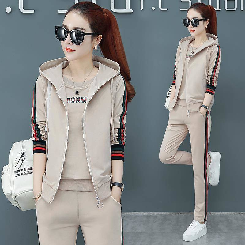 Women Outfit Sportswear Spring Autumn Winter Printed Letters Ladies Tracksuits Long-sleeve Casual & Vest 3 Piece Set