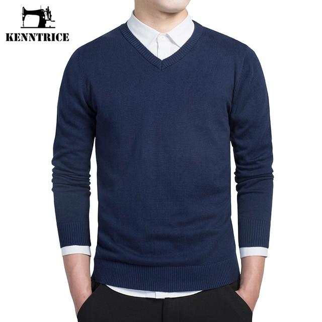 KENNTRICE Morna do Pulôver Formal Com Decote Em V Homens Camisola de Caxemira Moda Pullovers Sólidos Manga Comprida Azul do Inverno de Lã Básico Jumper