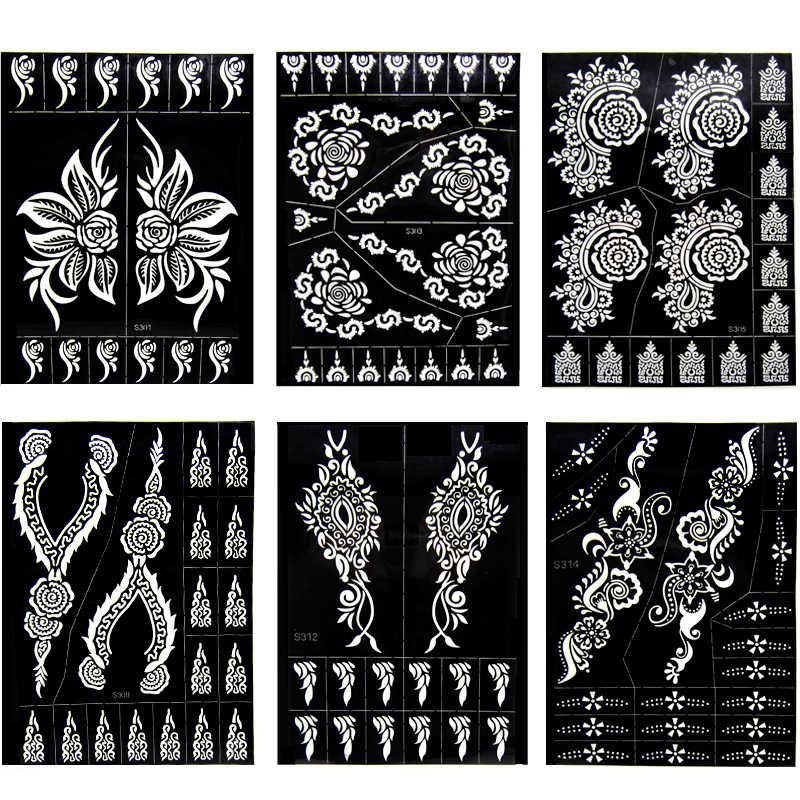 6 Sheet India Henna Tattoo Stencils Set For Hand Body Art Painting Airbrush Fake Tattoo Flower Glitter Templates 24 X 17cm Aliexpress