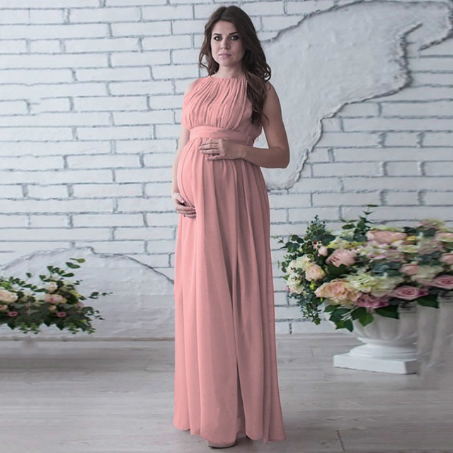 Floor length chiffon women maternity dresses solid high waist mommy  pregnancy dress beautiful pregnant dress for pregnant women 6b2c74c9272c