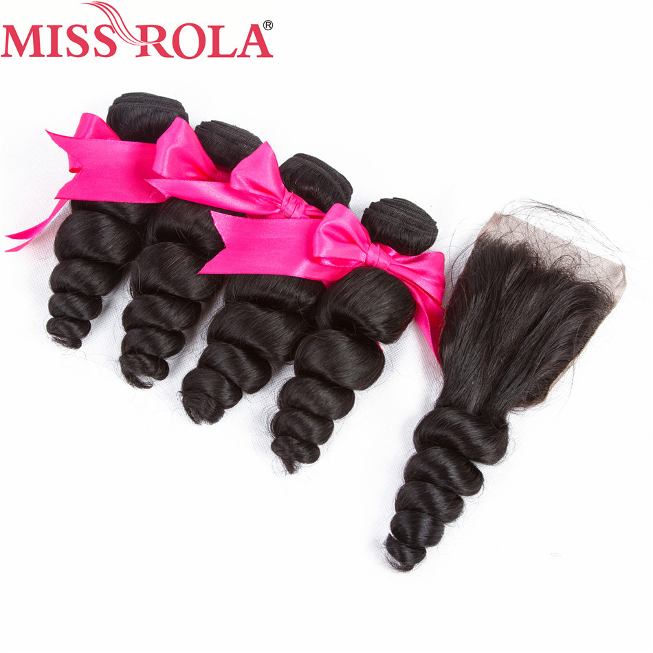 Miss Rola Hair Peruvian Loose Wave 4 Bundles With Closure Natural Color Non Remy 100 Human