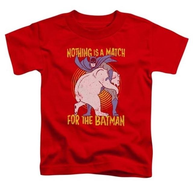 Trevco Batman-Bear Wrastling – Short Sleeve Toddler Tee – Red Large 4T