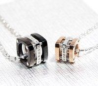 Walentynki Prezent!! urocze kostki miłośników naszyjnik biżuteria black & rose złota para ze stali nierdzewnej WP281 bijoux