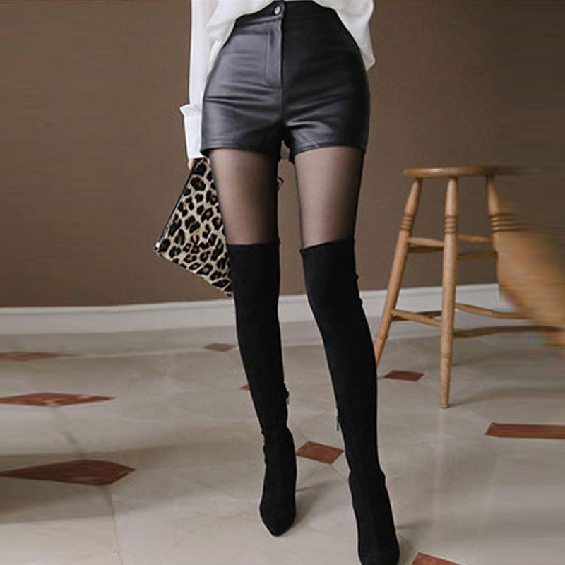 High Waist PU Leather Shorts Korean Fashion Black Spring Autumn Women Shorts Cool Skinny Work Party Wear Female Shorts 13