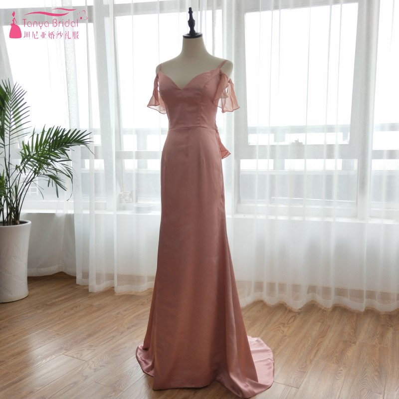 Dusty Rose Mermaid Long   Bridesmaid     Dresses   Spaghetti elegance Wedding Guest   Dress   Wedding Party Gowns cheap formal   dress   ZB034