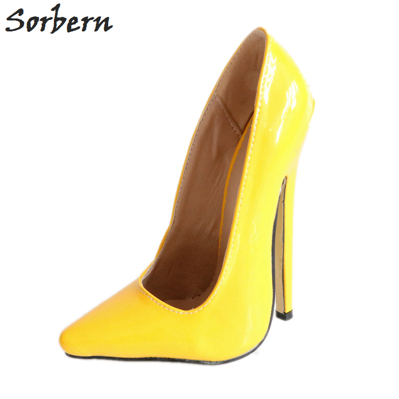 Sorbern Yellow Pointy Shoes Women 18Cm Women Pumps High Heels Slip On African Party Shoes 2018 Footwear Woman Custom ColorSorbern Yellow Pointy Shoes Women 18Cm Women Pumps High Heels Slip On African Party Shoes 2018 Footwear Woman Custom Color