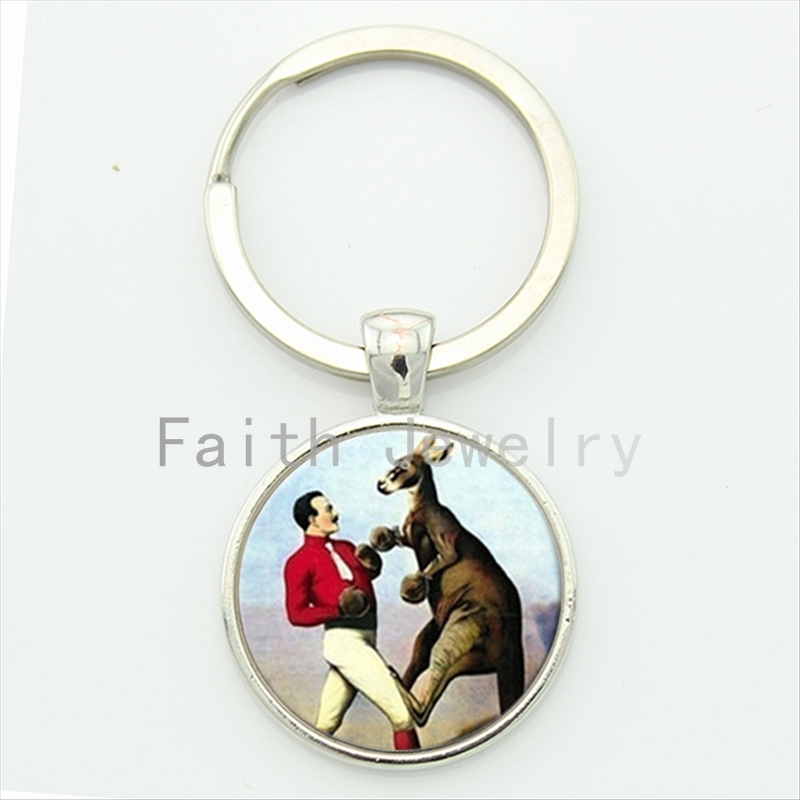 Trendy Cool Boy Key Chain Gift Round Glass Boxing Kangaroo Victorian Era Art Picture Print Alloy Keychain Funny Jewelry KC211