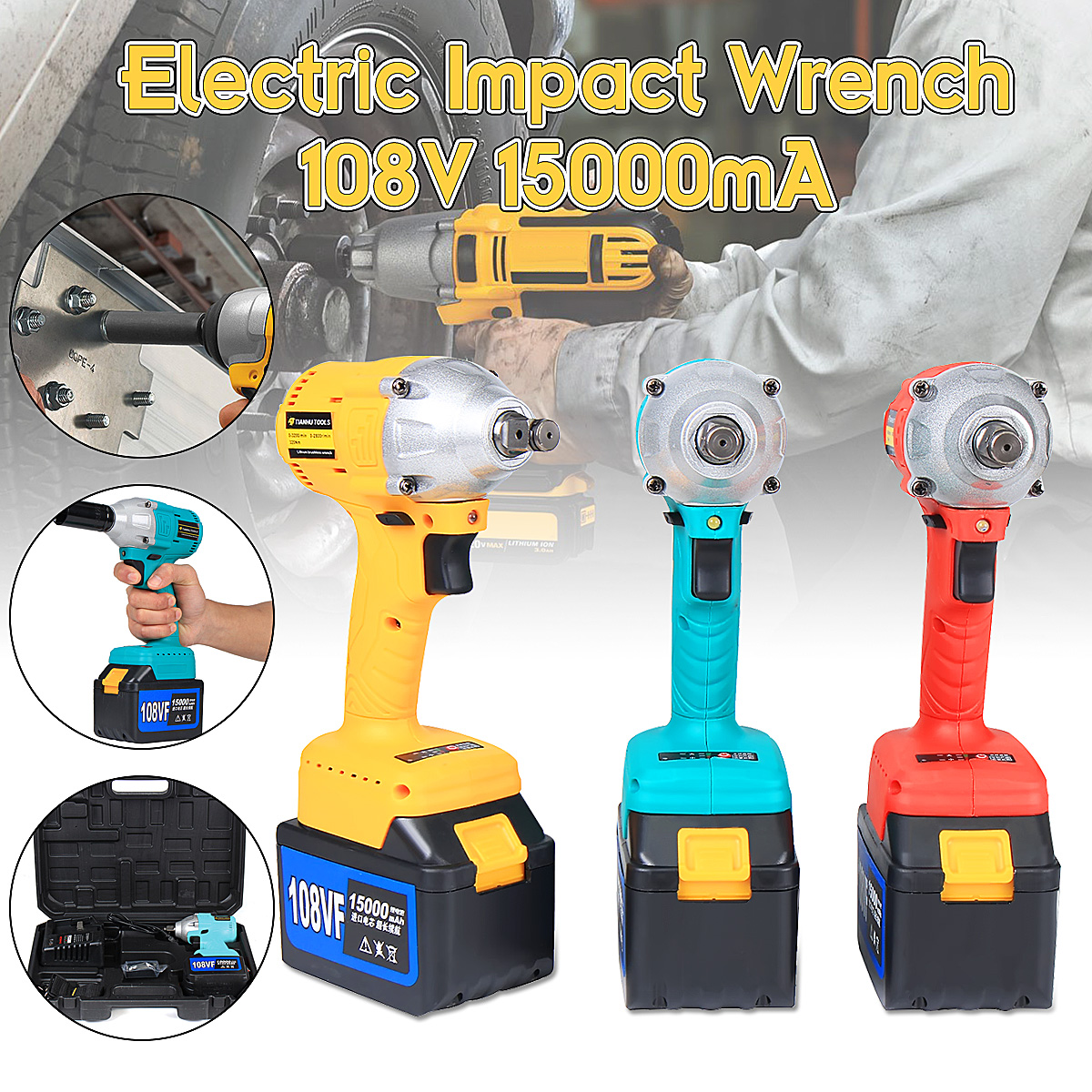 108V Cordless Impact Wrench 1/2'' Rechargeable 15000mAh Lithium Battery 320Nm Brushless Electric Wrench 15000mah external rechargeable lithium polymer battery dc 12 6v
