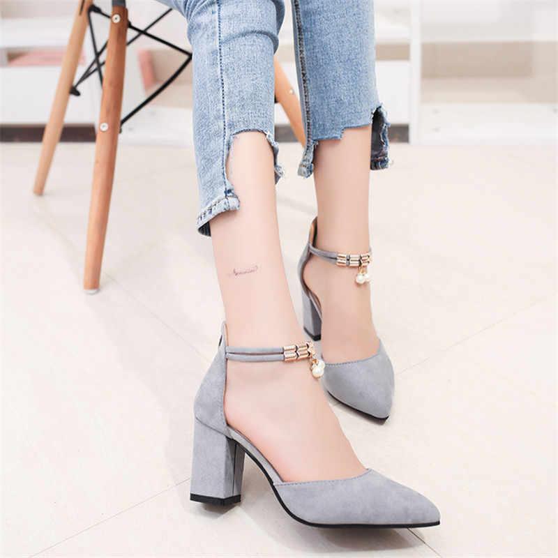 Yeni kadın yaz moda seksi sivri burun düğün parti yüksek topuklu ayakkabılar kadın inci sandalet Zapatos Mujer no1