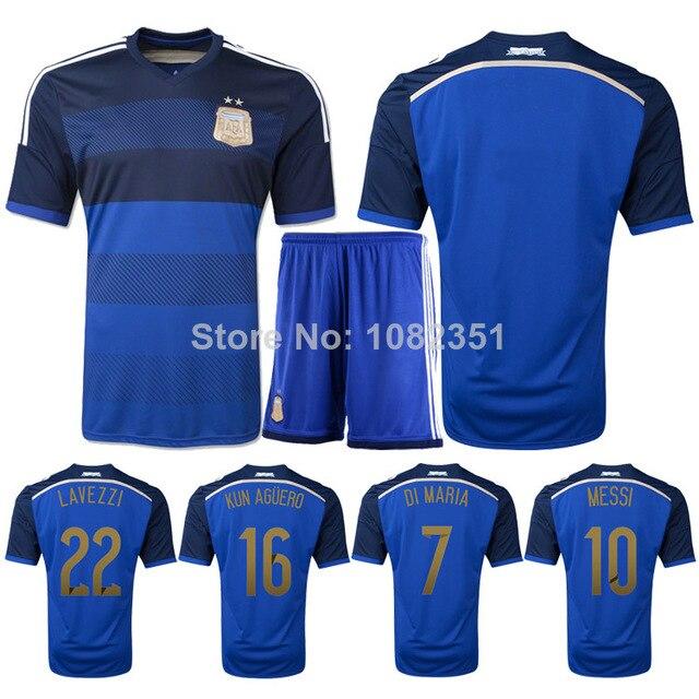 85504079a Argentina Jersey MESSI Soccer Jerseys Football 2014 World Cup Home Men Football  Shirt   Shorts Soccer Uniform Sets