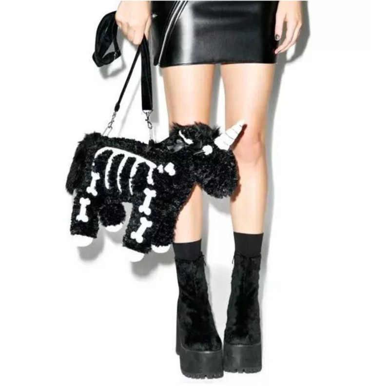 JIEROTYX koyu Punk tarzı kişilik moda trendleri peluş tekboynuz modelleme omuzdan askili çanta kadın çanta postacı çantası lüks